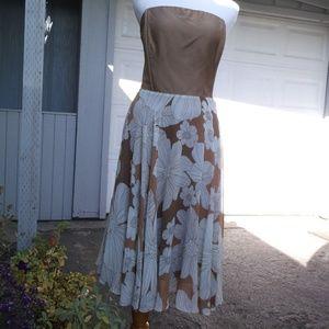 VTG Design 100% Silk full Circle strapless Dress 4